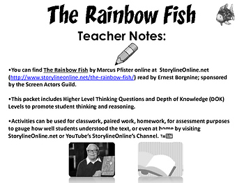 The Rainbow Fish Lessons & Activity Bundle FREE Sample {CCSS Aligned}