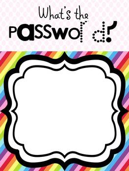 The Rainbow Room Welcome Banner and Password Poster