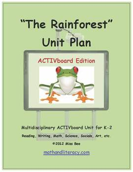 """The Rainforest"" Common Core Aligned Math and Literacy Unit - ACTIVboard EDITION"