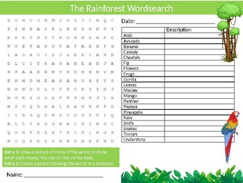 The Rainforest Wordsearch Sheet Nature Geography Starter Activity Keywords