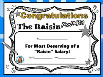 The Raisin Award by Teacher's Brain