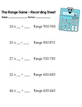 The Range Game - Math Activity
