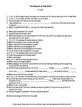The Ransom of Red Chief by O. Henry Complete Guided Reading Worksheet