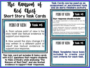 """""""The Ransom of Red Chief"""" by O. Henry Task Cards"""
