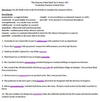 """""""The Ransom of Red Chief"""" by O. Henry - Vocabulary Practice: Context Clues"""