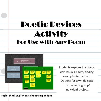 Poetic Devices / Poetry Terms Activities-- Use with Any Poem