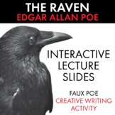 The Raven, Edgar Allan Poe's Poem, Interactive Poetry Lecture w/Worksheet, CCSS