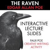 The Raven, Edgar Allan Poe, Interactive Poetry Activity, PDF & Google Drive CCSS
