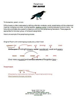 The Raven Paraphrasing Lesson: Worksheets, Word Search, and Allusions