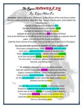 The Raven Poem and Answer Key