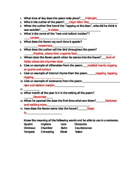 """""""The Raven"""" Study Guide with Key Included"""
