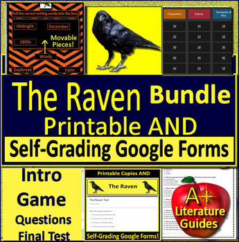 The Raven by Edgar Allan Poe - Bundle - Print AND Google Ready w/ Self-Grading