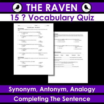 the raven vocab quiz synonym antonym analogy fill in the blank sentences. Black Bedroom Furniture Sets. Home Design Ideas
