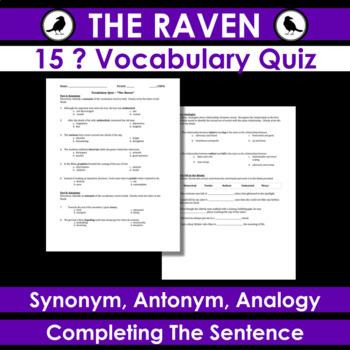 The Raven - Vocab Quiz: Synonym, Antonym, Analogy, Fill-In-The-Blank  Sentences
