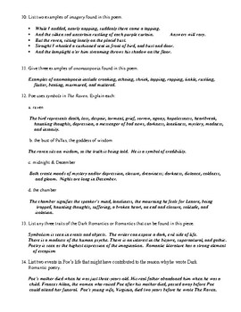 The Raven by Edgar Allan Poe Worksheet (or Test) and Comprehensive Answer Key