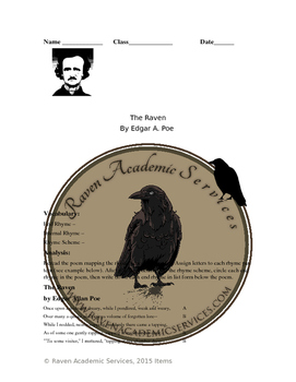 The Raven Worksheet with Full Poem & Answer Key