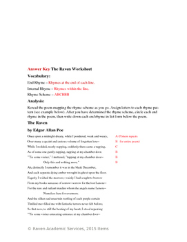 the raven worksheet with full poem answer key by raven academic services. Black Bedroom Furniture Sets. Home Design Ideas