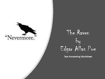 The Raven by Edgar Allan Poe Annotation Worksheet