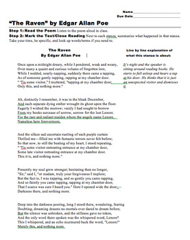 The Raven, by Edgar Allen Poe: Close Reading Activity (MS Word)