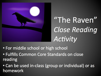 The Raven, by Edgar Allen Poe: Close Reading Activity (PDF)