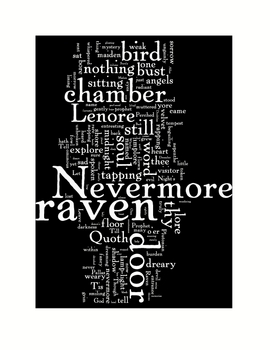 the raven by edgar allan poe word art poetry prints by tracee orman. Black Bedroom Furniture Sets. Home Design Ideas