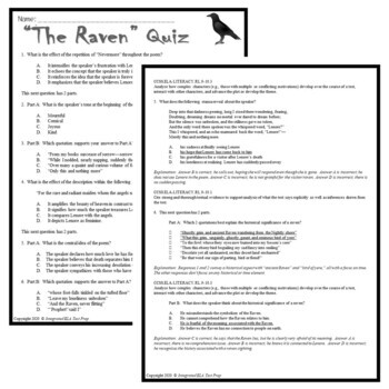 The Raven by Poe: Common Core Poetry Reading Test Prep Lesson, Quiz, Activities