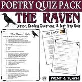 The Raven Quiz Poetry Comprehension Reading Comprehension Edgar Allan Poe PDF