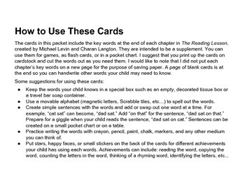 The Reading Lesson Supplement Flash Cards / Pocket Chart Cards