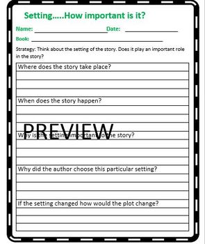 The Reading Strategies Book Goal: 5.18 Setting... How important is it?
