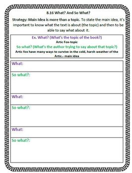 The Reading Strategies Book Goal 8.16 What? and So What?