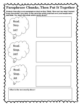 The Reading Strategies Book Goal 8.7 Paraphrase Chunks, Then Put it Together