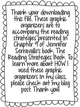 The Reading Strategies Book Graphic Organizers- Freebie