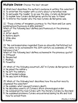 The Real Cyrano de Bergerac Reading Comprehension Worksheet Background