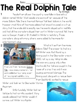 The Real Dolphin Tale Text & Question Set - FSA/PARCC-Style ELA Assessment