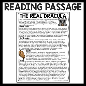 The Real Dracula Reading Comprehension, Bram Stoker, Halloween, Vampire