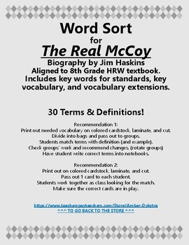 The Real McCoy Vocabulary Word Sort