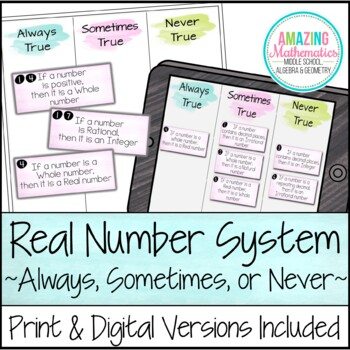 The Real Number System Always Sometimes Or Never Card