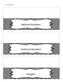 The Real Number System Graphic Organizer Interactive Notebook Foldable