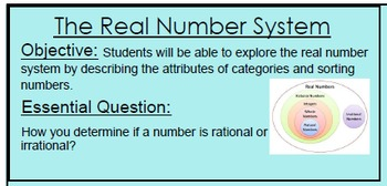 The Real Number System Power Point and Sorting Activity
