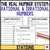 The Real Number System: Rational and Irrational Numbers Math Stations