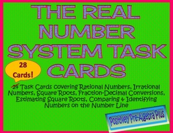 The Real Number System Task Cards