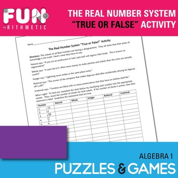 The Real Number System: True or False Activity