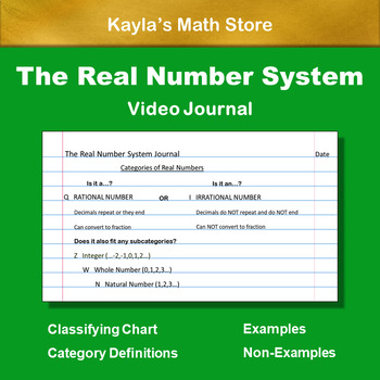 The Real Number System: Video Journal - Use in Lesson or HW - No Voice Over