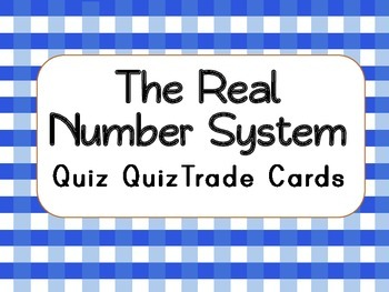 The Real Number System Vocabulary Cards