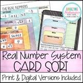 Real Numbers System Card Sort (Rational, Irrational, Integ