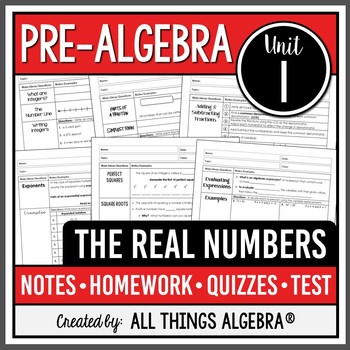 The Real Numbers (Pre-Algebra - Unit 1)