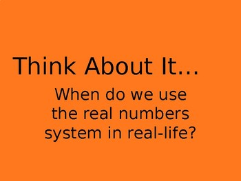 The Real Numbers System