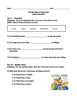 McGraw Hill Wonders - The Real Story of Stone Soup Comprehension Activity