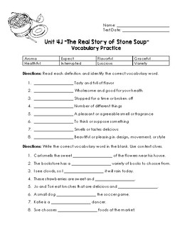 The Real Story of Stone Soup Vocabulary