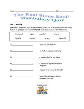 McGraw Hill Wonders - The Real Story of Stone Soup Vocabulary Resources